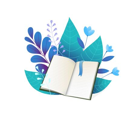 Open book and blue leaves flat vector illustration