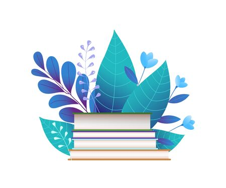 Books and blue leaves flat vector illustration