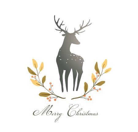 Deer or Reindeer silhouette romantic wreath with berries composition for logo Christmas or New Year.