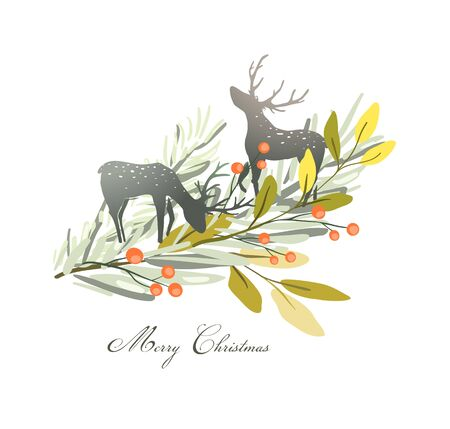 Christmas Deers or reindeer silhouettes with winter floral composition fir tree branch and berries.