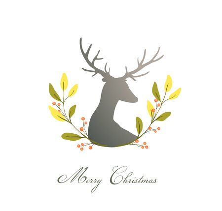 Romantic Deer or Reindeer with floral wreath composition for logo. Christmas or New Year design. 向量圖像