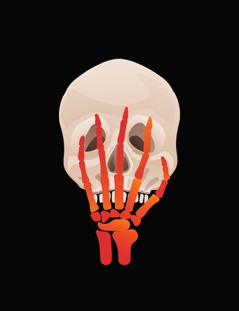 Halloween or Day of the dead Skull with skeleton hand facepalm design.