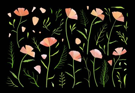 Collection of flowers pink and green isolated on black background designer set.