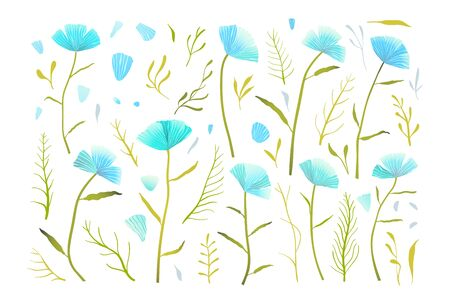 Blue flowers romantic collection of separate floral elements with bright gradients.