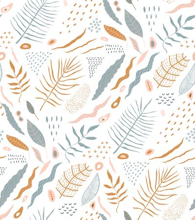 Nature abstract seamless pattern design rustic tropical summer style. Ilustração