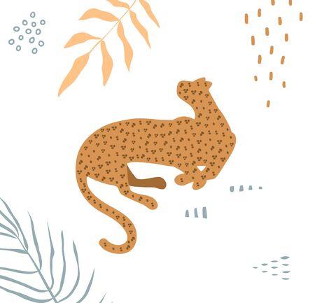 Wild cat leopard animal modern simple print graphic design light colors with floral decoration. Stock Illustratie