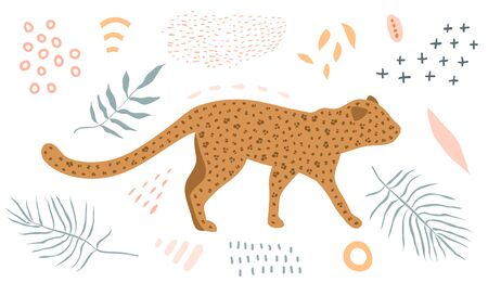 Wild cat leopard walking in jungle modern simple print graphic design light colors with florals.