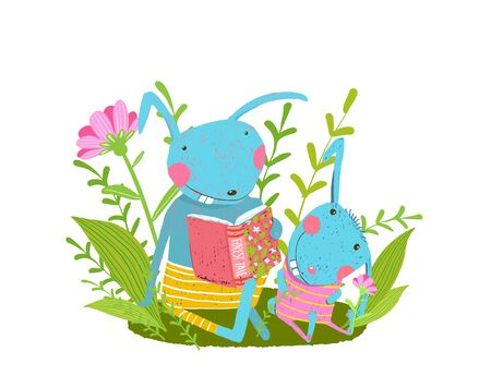 Cute animal mom or dad teaching offspring to read. Library and kids baby education cartoon illustration. 向量圖像
