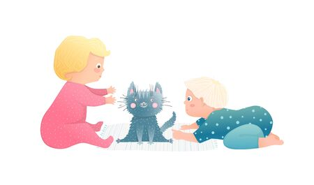 Cute boy baby toddler and girl child having curious playtime with kitten. Funny hand drawn vector cartoon illustration.