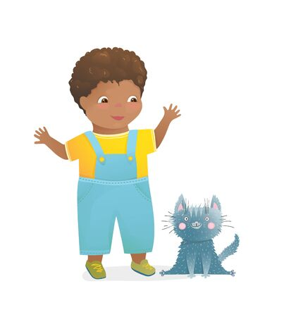 Little african happy boy and puppy kitten wearing blue jeans. Cute child hand drawn vector graphic.