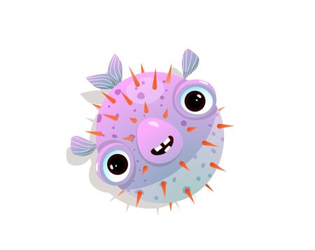 Humor puffer or blow fish childlike funny character of spiky ocean or sea fish. Иллюстрация