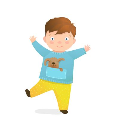Funny boy kids isolated kindergarten character cartoon clip art. Vector hand drawn illustration.