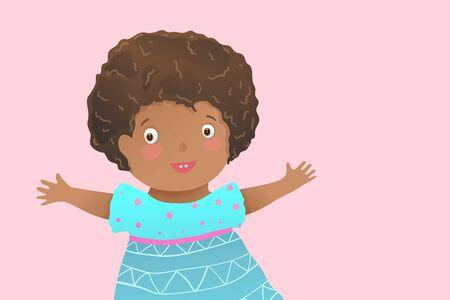 Multiracial African kid  graphic clip art baby girl happy hugging expression. Vector kindergarten kids illustration.
