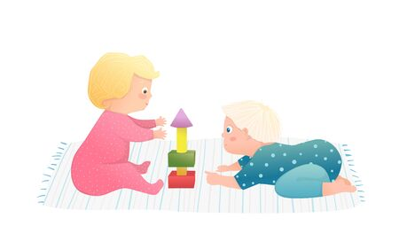 Cute Friendship of baby boy and toddler girl having curious playtime together. Funny hand drawn vector cartoon illustration.