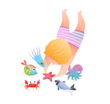 Childhood at the sea with sea animals cute watercolor style kindergarten illustration cartoon. 向量圖像