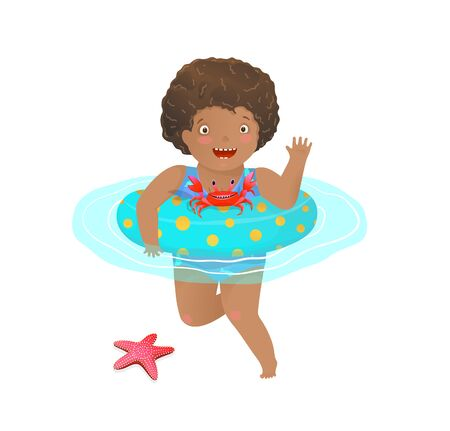 Cute African Girl Kid swimming with inflatable ring with sea creatures friends. Vettoriali