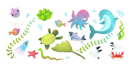 Cute kids sea creatures set dolphin, sea star, fishes and squid, crab and other amusing underwater creatures. Vector cartoon.