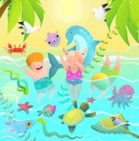 Beach Vacations for Children in Tropical Paradise Swim with Sea Creatures. 矢量图像