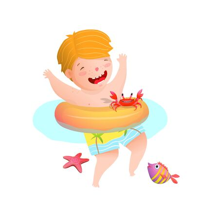 Cute Boy Kid swimming with inflatable ring with sea creatures feriends.