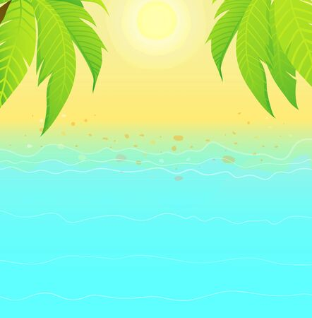 Cartoon hand drawn summer beach and sand ocean water paradise scene. Empty for lettering design, vector watercolor style.