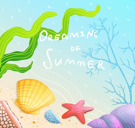 Dreaming of Summer Poster Design with sandy beach and sea shells. Illustration