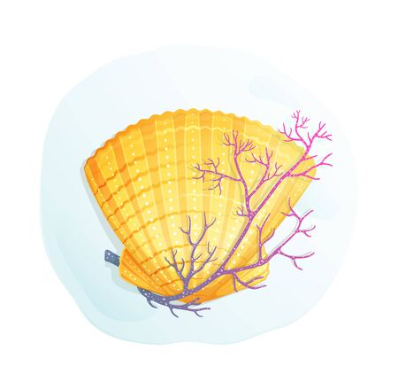 Sea shell and a coral oceanic paradise symbol artistic graphic design object for greeting card. Illustration