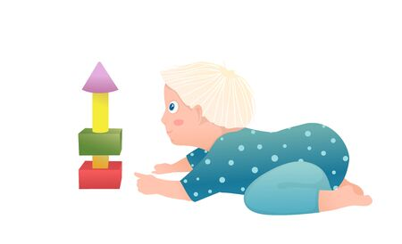 Cute boy baby toddler having curious playtime with blocks. Funny hand drawn vector cartoon illustration.