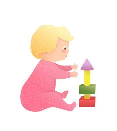 Nettes Mädchenbabykleinkind, das neugierige Spielzeit mit Blöcken hat. Lustige handgezeichnete Vektor-Cartoon-Illustration.