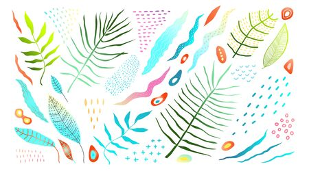 Colorful tropic hand drawn leaves and nature objects clip art collection. 向量圖像
