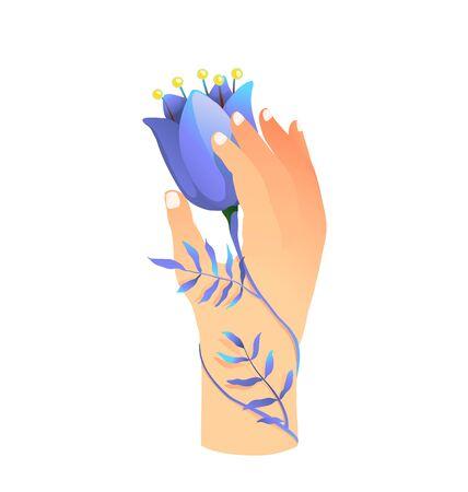 Vrouwelijke hand met prachtig blauw bloemsymbool van zuiverheid, schoonheid en jeugd. Vector grafische illustratie hand getrokken.