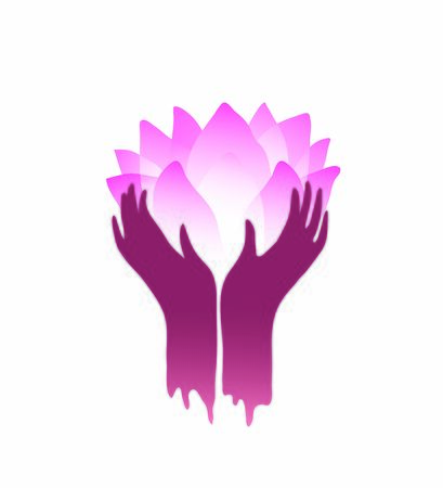Hands and lotus flower symmetry design for religious prints or icons, hand drawn vector graphic esoteric symbol.