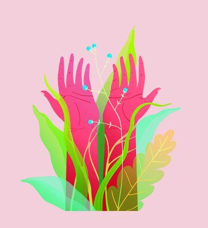 Spiritual and environmental hands raised symbol design. Transparent elements and gradients. Modern t shirt print . Çizim