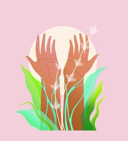 Spiritual and environmental hands raised symbol design. Transparent elements and gradients. Modern t shirt print . Stok Fotoğraf - 137647829