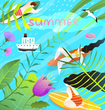 Colorful and relaxing tropical summer grahic modern hand drawn design. People on paddle boards in nature print design. Standard-Bild - 138238286