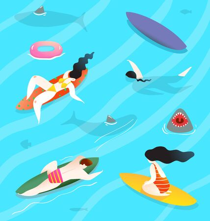 Swimming and relaxing people in the water, with sharks around, comic contemporary print.