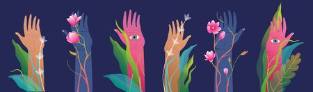 Hands raised with eyes on palms watching mysterious and spiritual horizontal design.