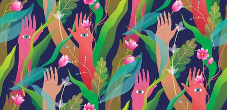 Esoteric hands arms palms and eyes with flowers and jungle modern seamless pattern design.