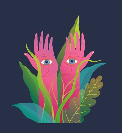 Fantasy raised pink arms and hands with eyes on palms, mysterious and spiritual poster design.