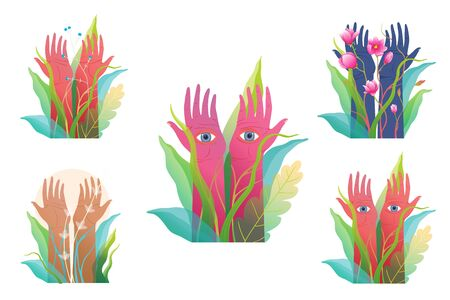 Magical hands raised with eyes on palms, mystery meditation and yoga clip art collection.