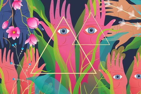 Mysticism backdrop with magic forest flowers and hands with eyes watching. Fantasy magical horizontal background.