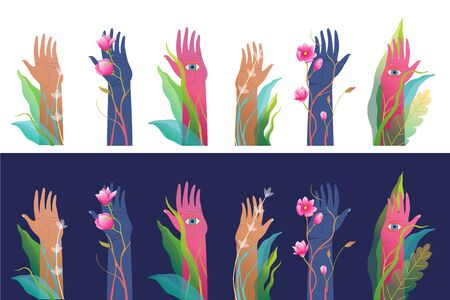 Mysterious surreal raised hands set, isolated clip art. Fantasy and mysticism hand drawn art for prints, t shirts, and other design.