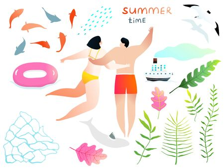 Swimming agua and people and romance hand drawn clip art elements colorful collection.