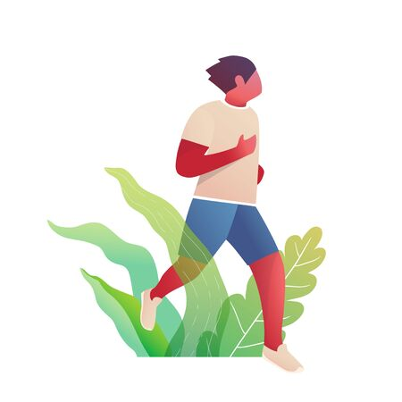 Running fit male race in nature, sporty and active male body character movement design. Vector graphics.
