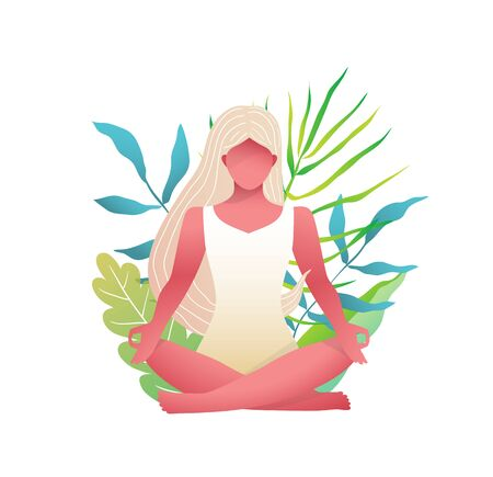 Young beautiful blonde, woman practice yoga Lotus pose in Nature garden with leaves and grass.