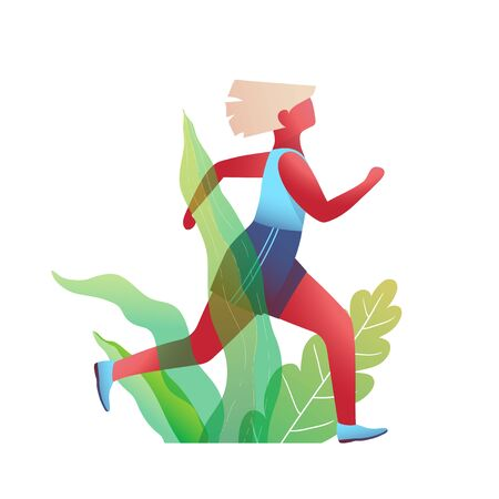 Beautiful fit girl run in the nature, sporty and active woman body movement design. Vector graphics.