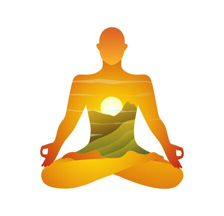 Indian Mountains and sunrise yoga practice modern design. Spiritual and esoteric practise in the sun and nature with mountains valley. Vector graphics.