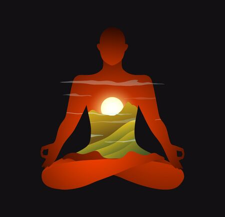 Indian Mountains and sunrise yoga practice modern design. Spiritual and esoteric practise in the sun and nature with mountain. Vector graphics.