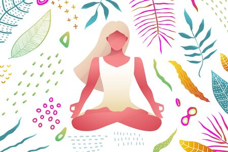 Young pretty girl in Yoga lotus asana in natural abstract background, peaceful and meditative female figure. Vector design. Ilustração