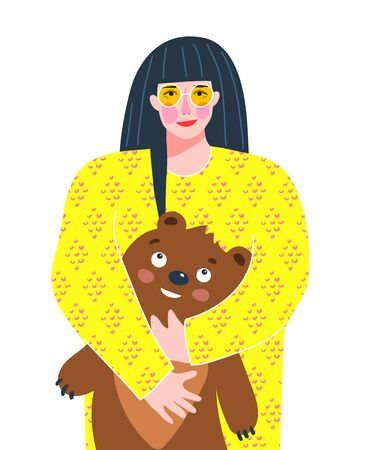 Pretty grown-up girl with kids toy teddy bear trendy colorful design for greeting card or t shirt print.