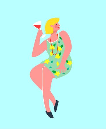 Funny and colorful party alone blonde woman drinking wine in the bar. Girlish Vector graphics design.
